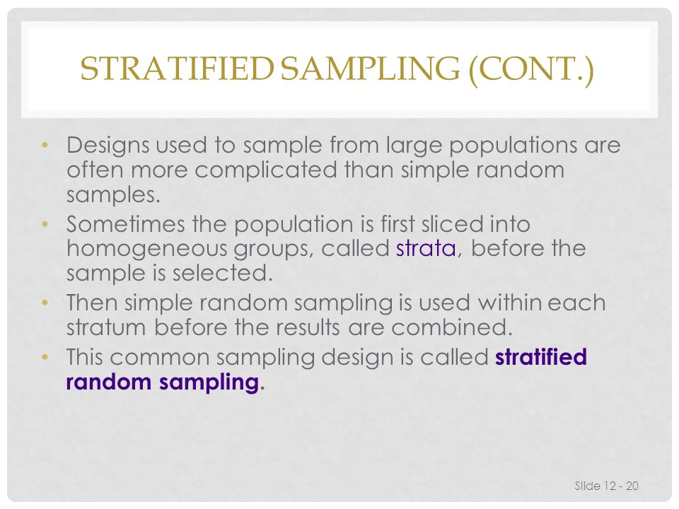 Stratified Sampling (cont.)