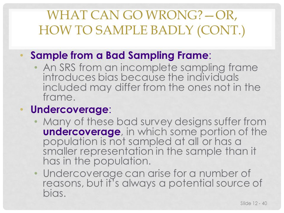 What Can Go Wrong —or, How to Sample Badly (cont.)