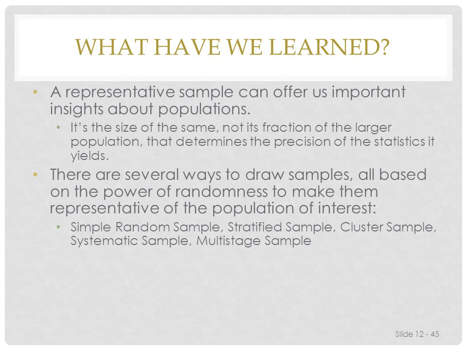 What have we learned A representative sample can offer us important insights about populations.