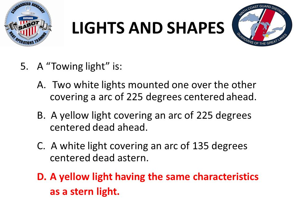 LIGHTS AND SHAPES A Towing light is: