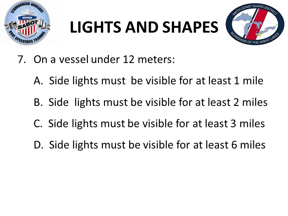 LIGHTS AND SHAPES On a vessel under 12 meters:
