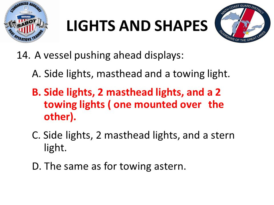 LIGHTS AND SHAPES A vessel pushing ahead displays: