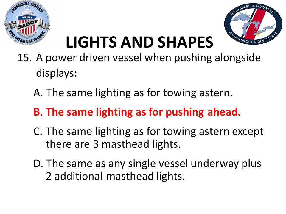 LIGHTS AND SHAPES A power driven vessel when pushing alongside