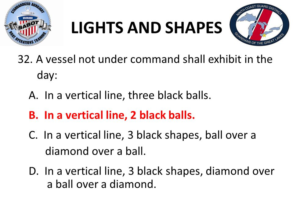 LIGHTS AND SHAPES 32. A vessel not under command shall exhibit in the