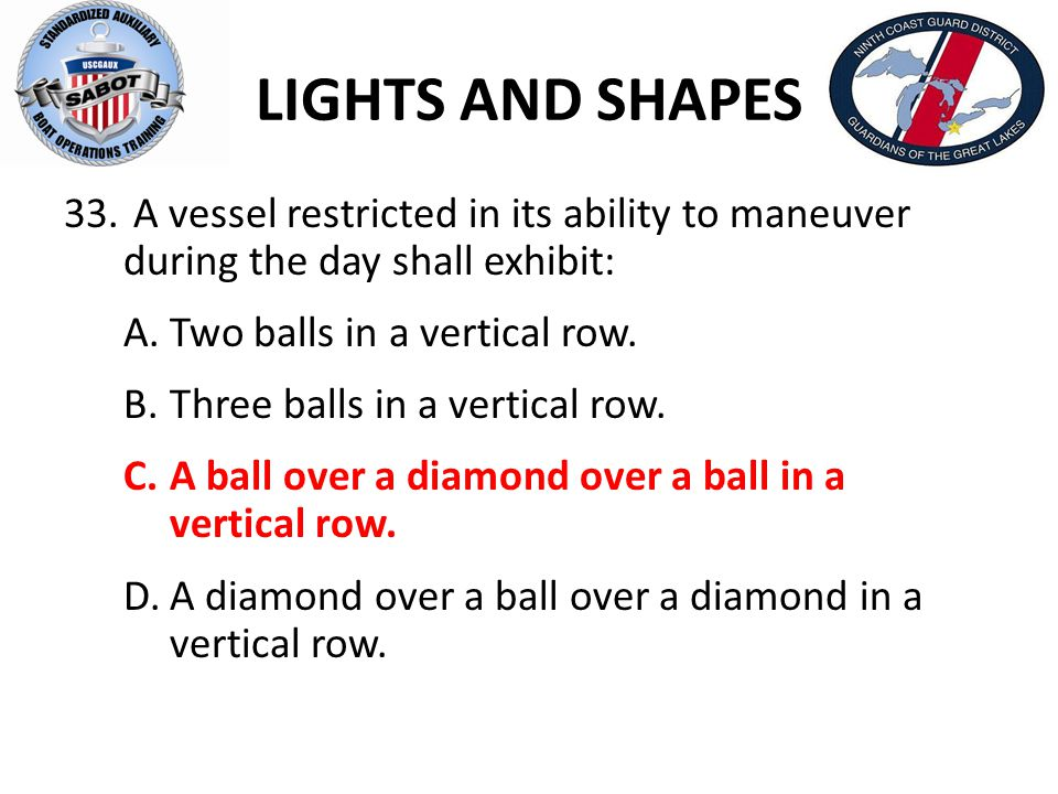 LIGHTS AND SHAPES A vessel restricted in its ability to maneuver during the day shall exhibit: A. Two balls in a vertical row.