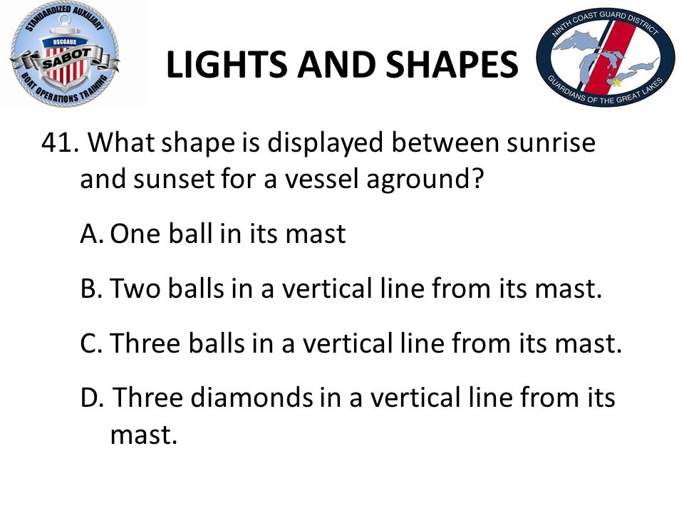 LIGHTS AND SHAPES What shape is displayed between sunrise and sunset for a vessel aground A. One ball in its mast.