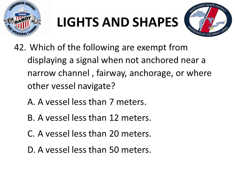 LIGHTS AND SHAPES Which of the following are exempt from