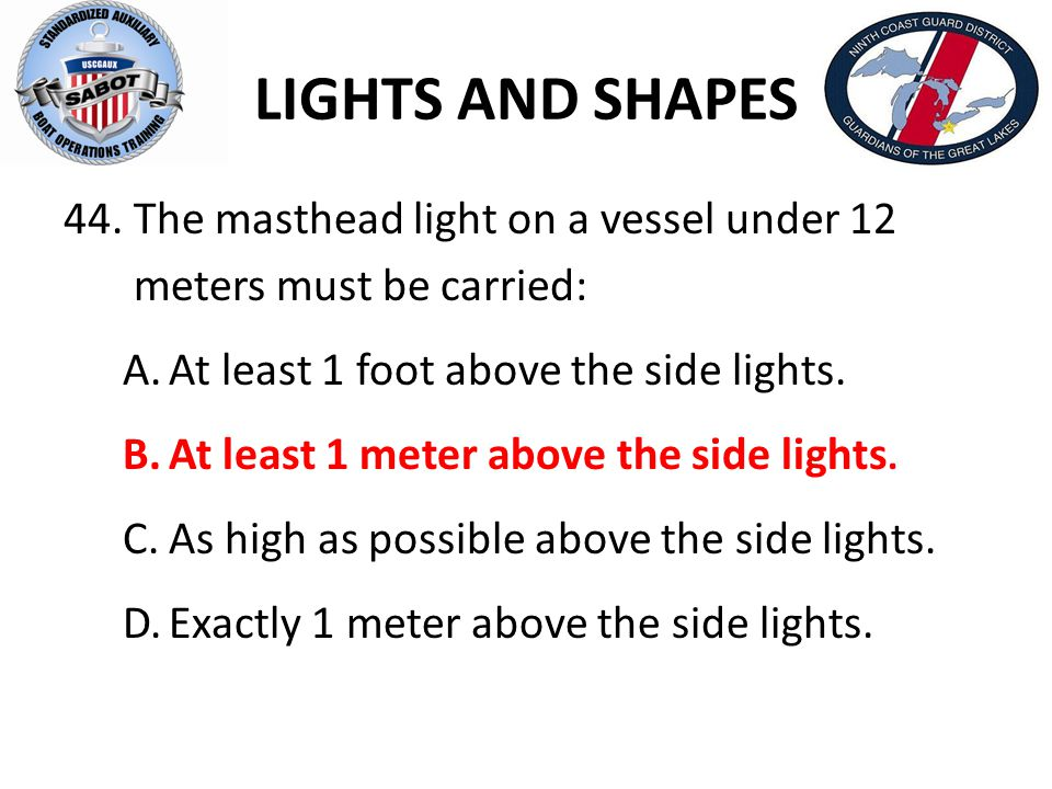 LIGHTS AND SHAPES The masthead light on a vessel under 12