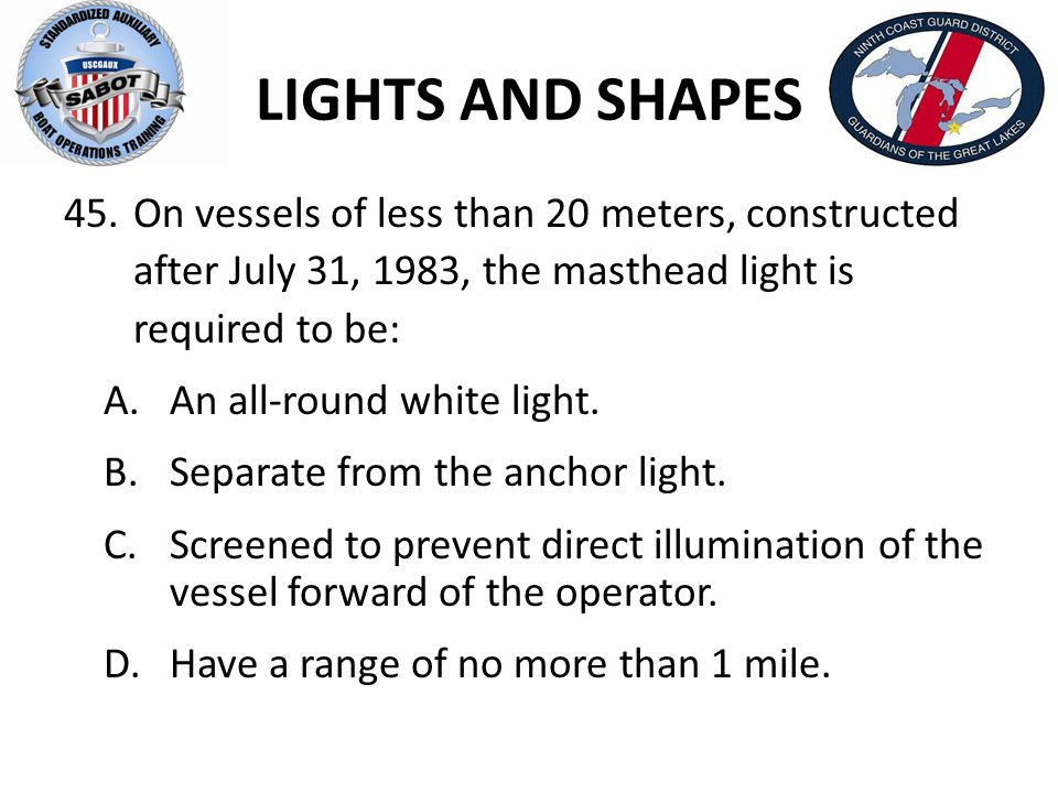 LIGHTS AND SHAPES On vessels of less than 20 meters, constructed