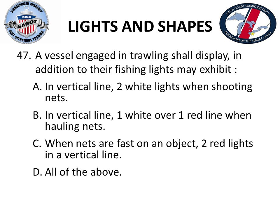 LIGHTS AND SHAPES A vessel engaged in trawling shall display, in