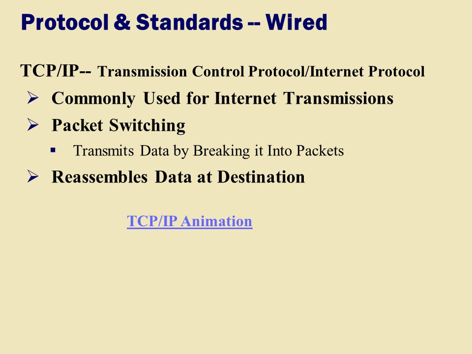 Protocol & Standards -- Wired