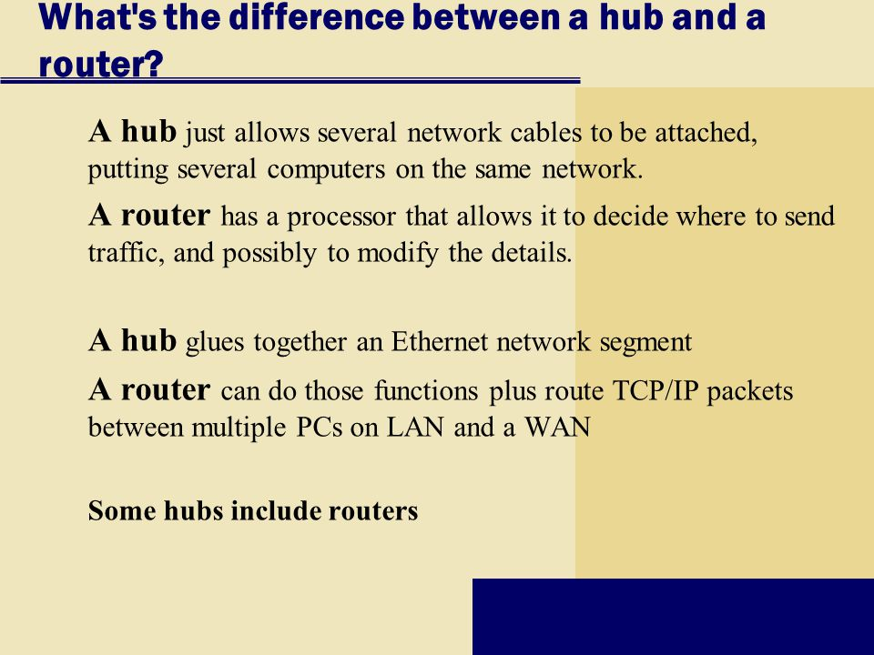 What s the difference between a hub and a router