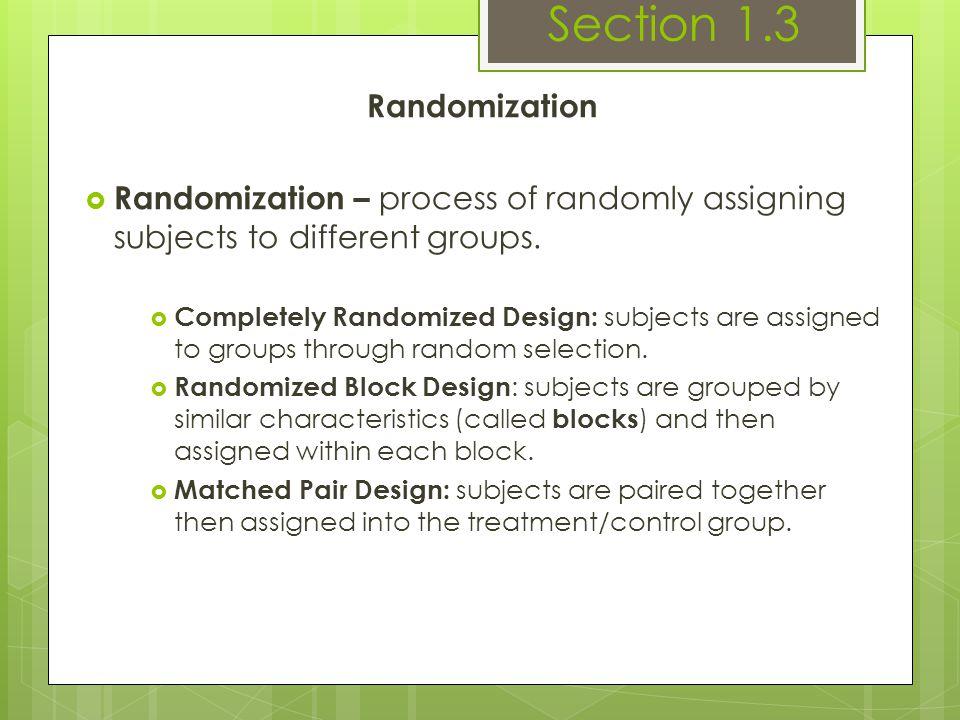 Section 1.3 Randomization