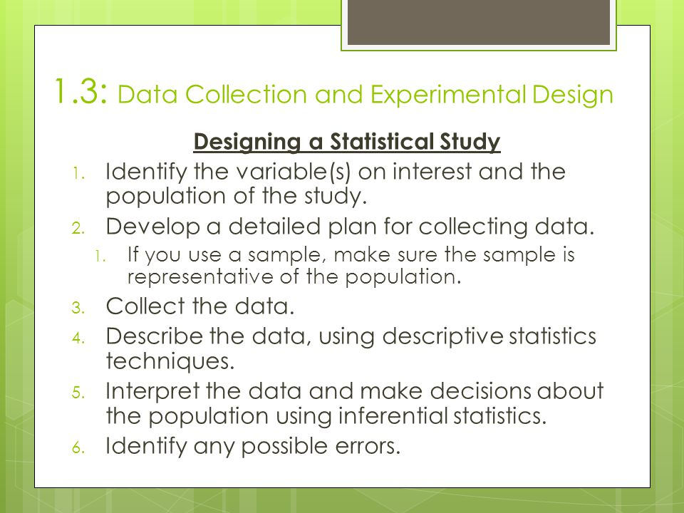1.3: Data Collection and Experimental Design