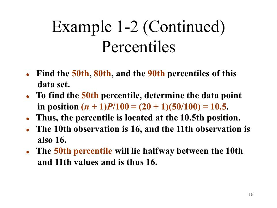Example 1-2 (Continued) Percentiles