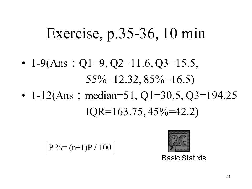 Exercise, p.35-36, 10 min 1-9(Ans:Q1=9, Q2=11.6, Q3=15.5,