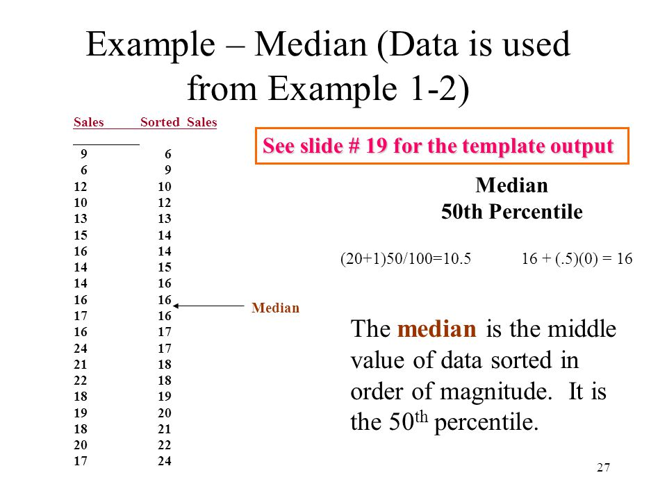 Example – Median (Data is used from Example 1-2)