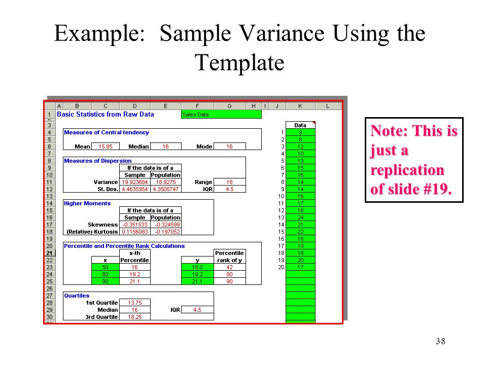 Example: Sample Variance Using the Template