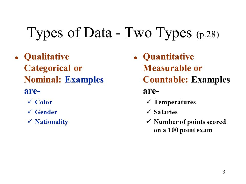 Types of Data - Two Types (p.28)