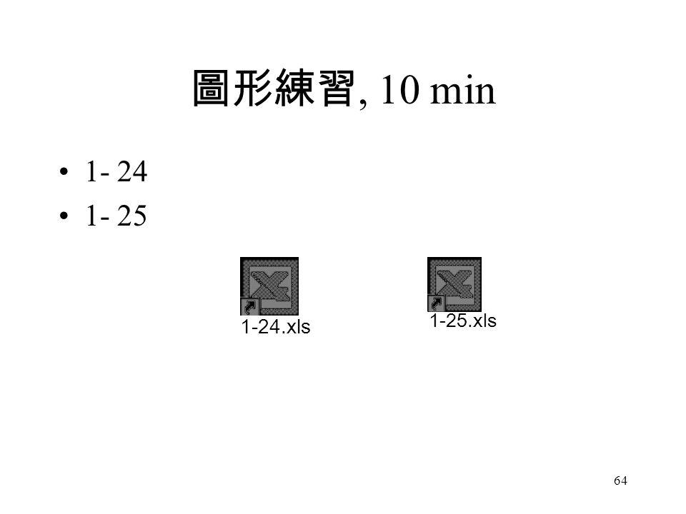 圖形練習, 10 min 1- 24 1- 25 1-25.xls 1-24.xls