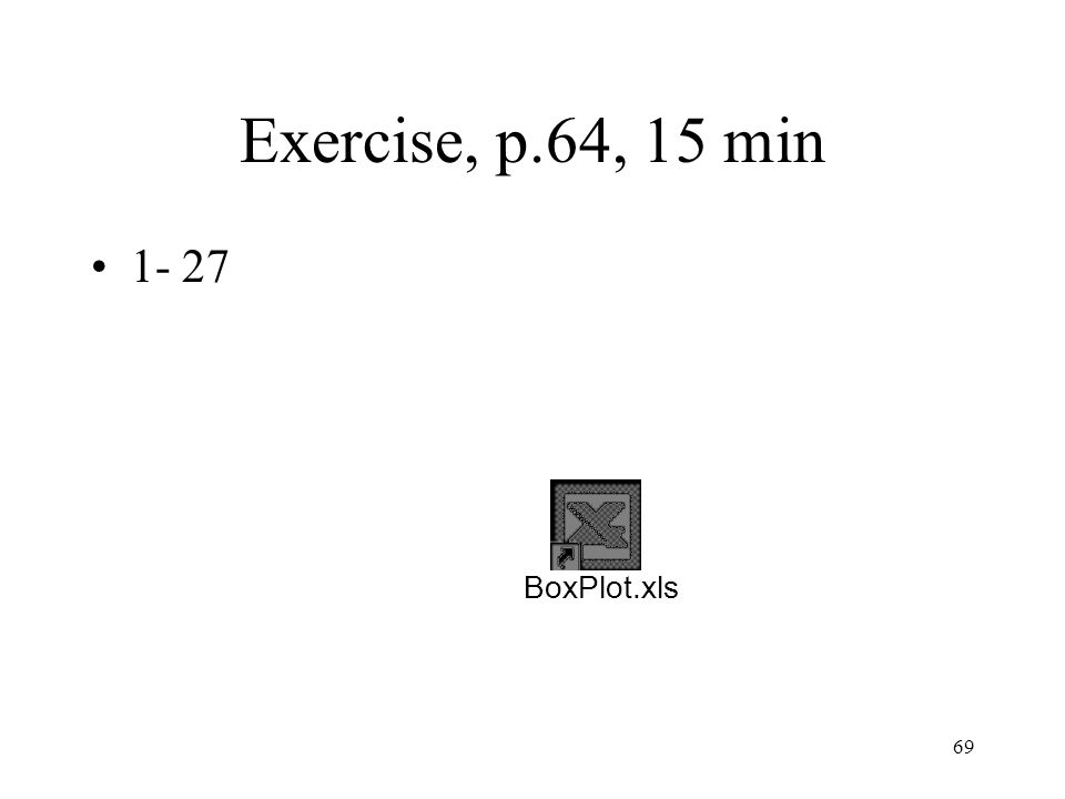 Exercise, p.64, 15 min 1- 27 BoxPlot.xls