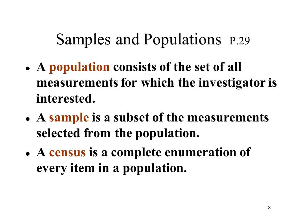 Samples and Populations P.29