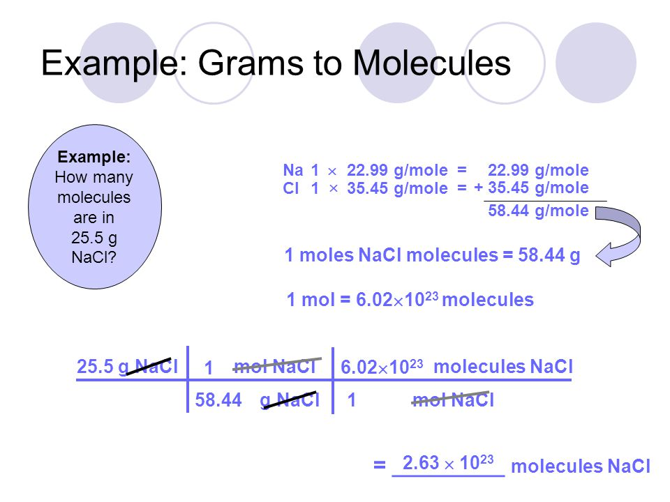 Example: Grams to Molecules