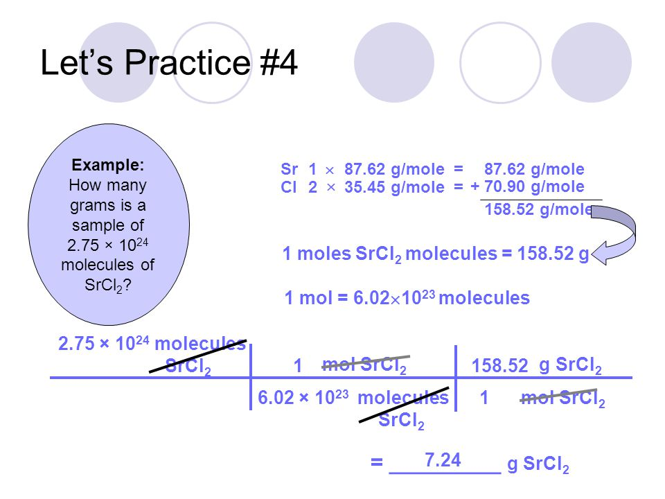 How many grams is a sample of 2.75 × 1024 molecules of SrCl2