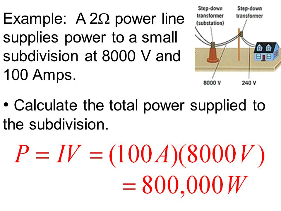 Calculate the total power supplied to the subdivision.