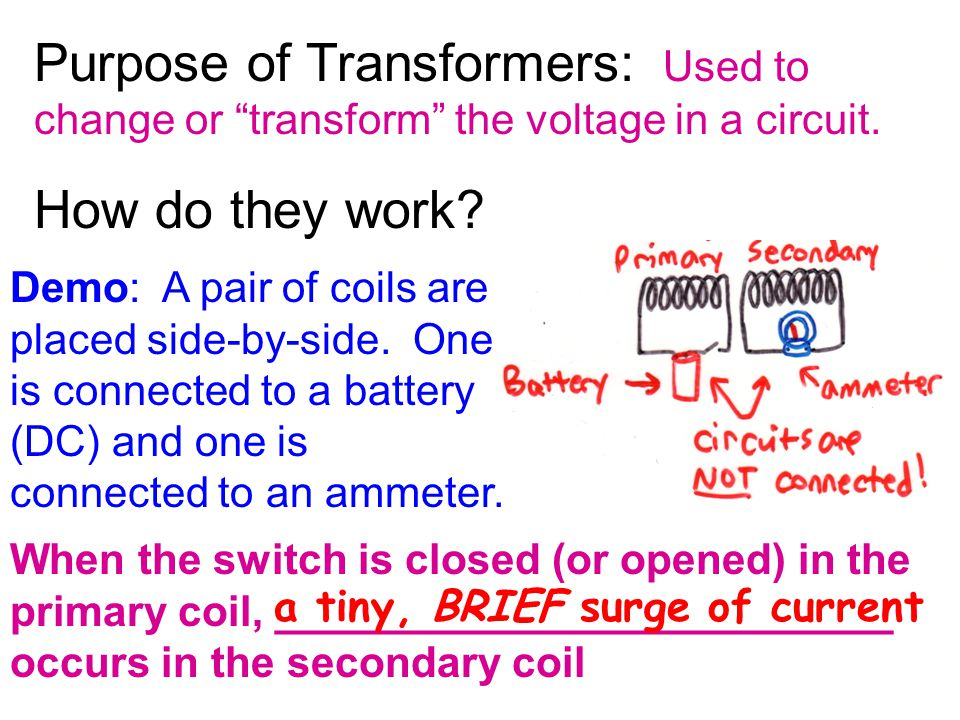 Purpose of Transformers: Used to change or transform the voltage in a circuit.