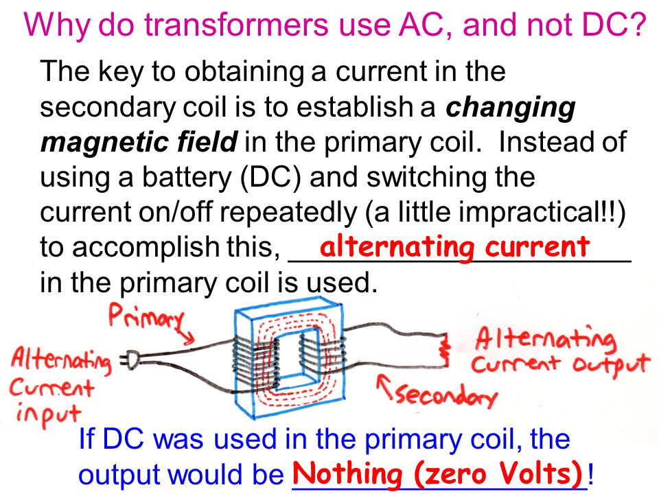 Why do transformers use AC, and not DC