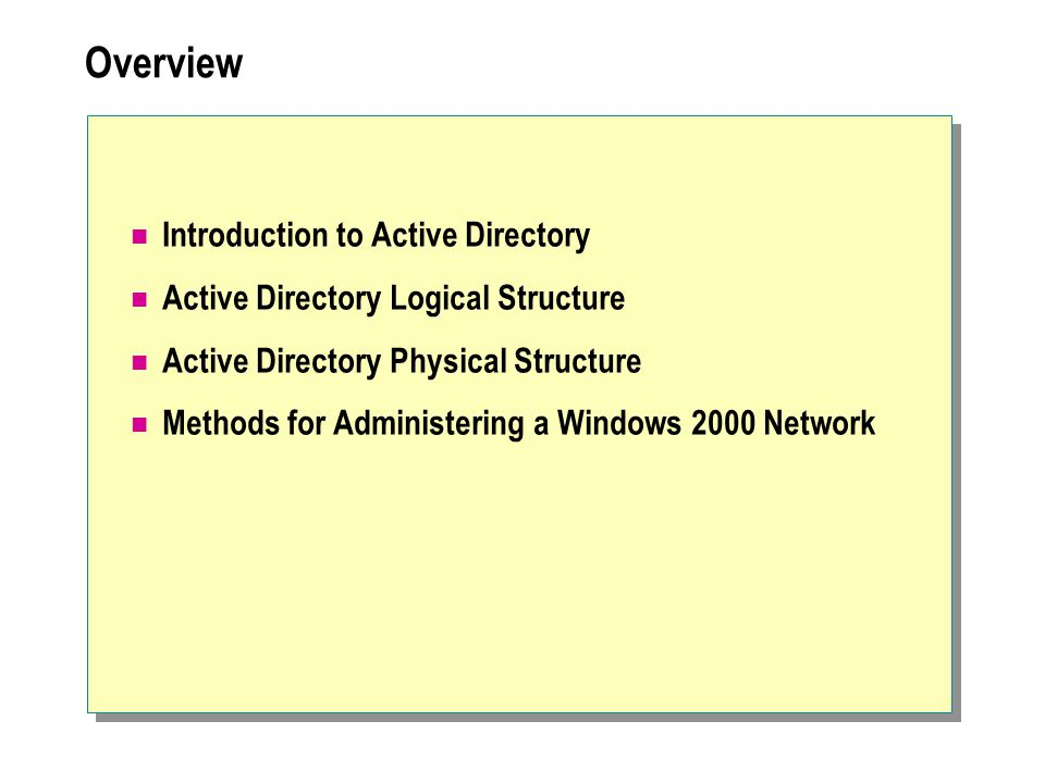 Overview Introduction to Active Directory