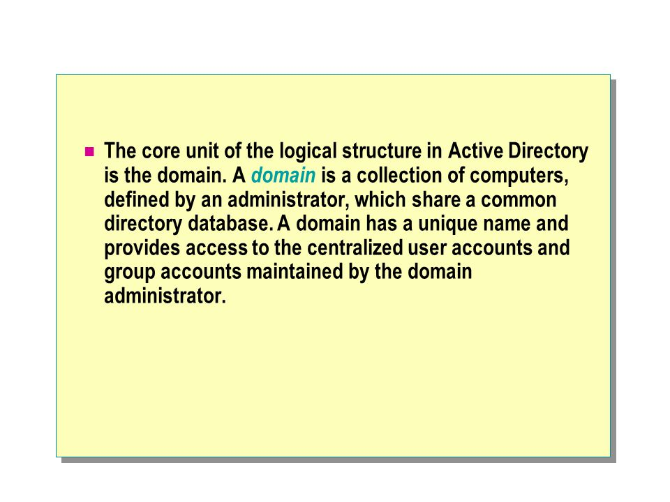 The core unit of the logical structure in Active Directory is the domain.