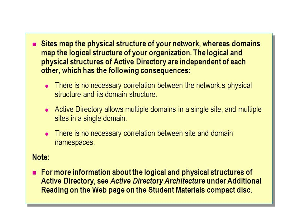 Sites map the physical structure of your network, whereas domains map the logical structure of your organization. The logical and physical structures of Active Directory are independent of each other, which has the following consequences: