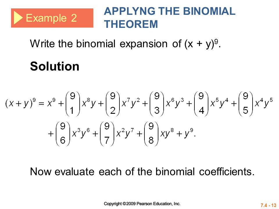 Solution APPLYNG THE BINOMIAL THEOREM Example 2
