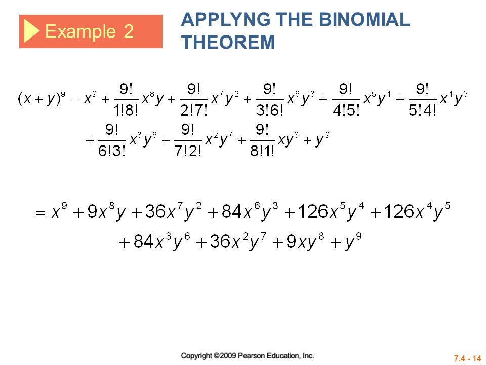 APPLYNG THE BINOMIAL THEOREM