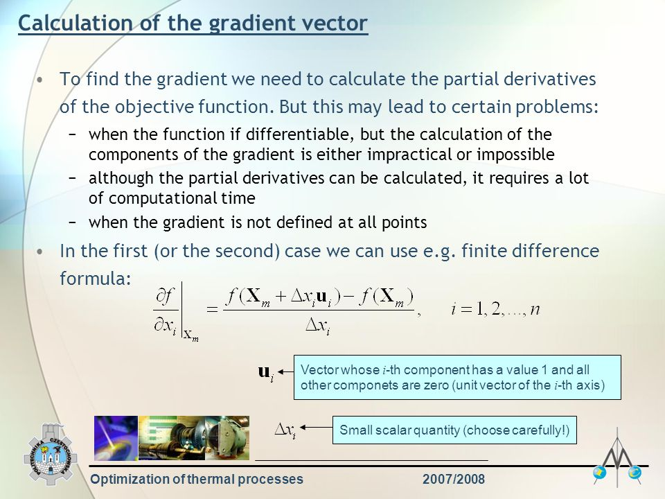 Calculation of the gradient vector