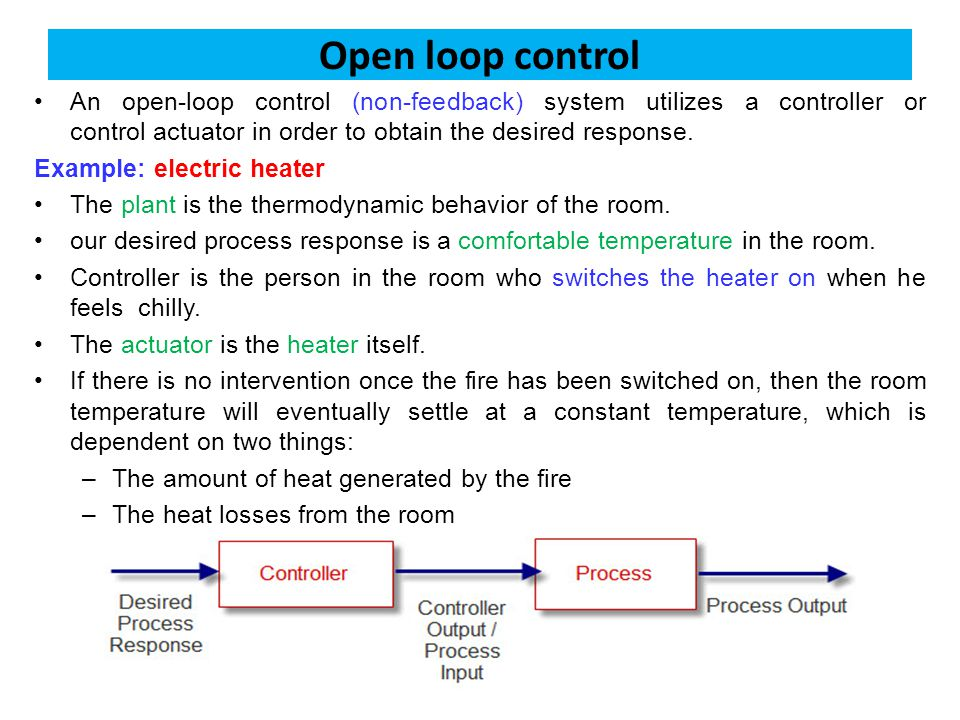Open loop control An open-loop control (non-feedback) system utilizes a controller or control actuator in order to obtain the desired response.