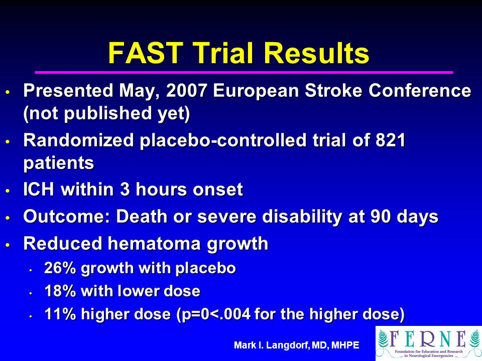 FAST Trial Results Presented May, 2007 European Stroke Conference (not published yet) Randomized placebo-controlled trial of 821 patients.