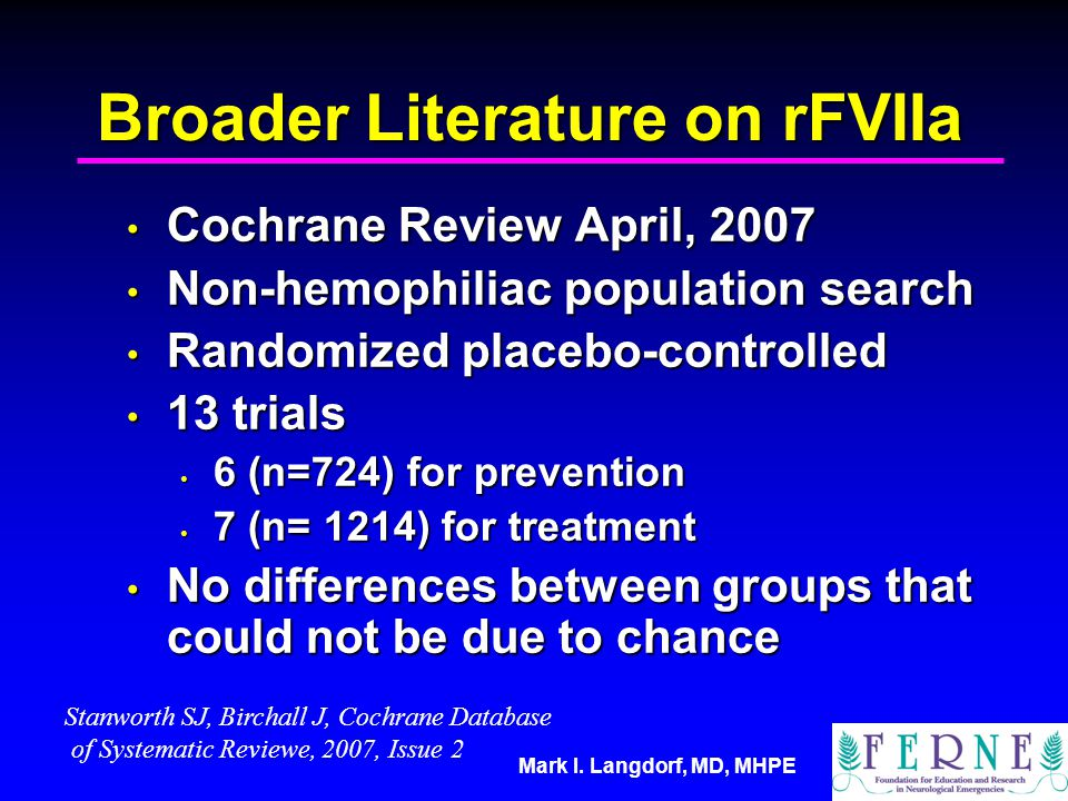 Broader Literature on rFVIIa