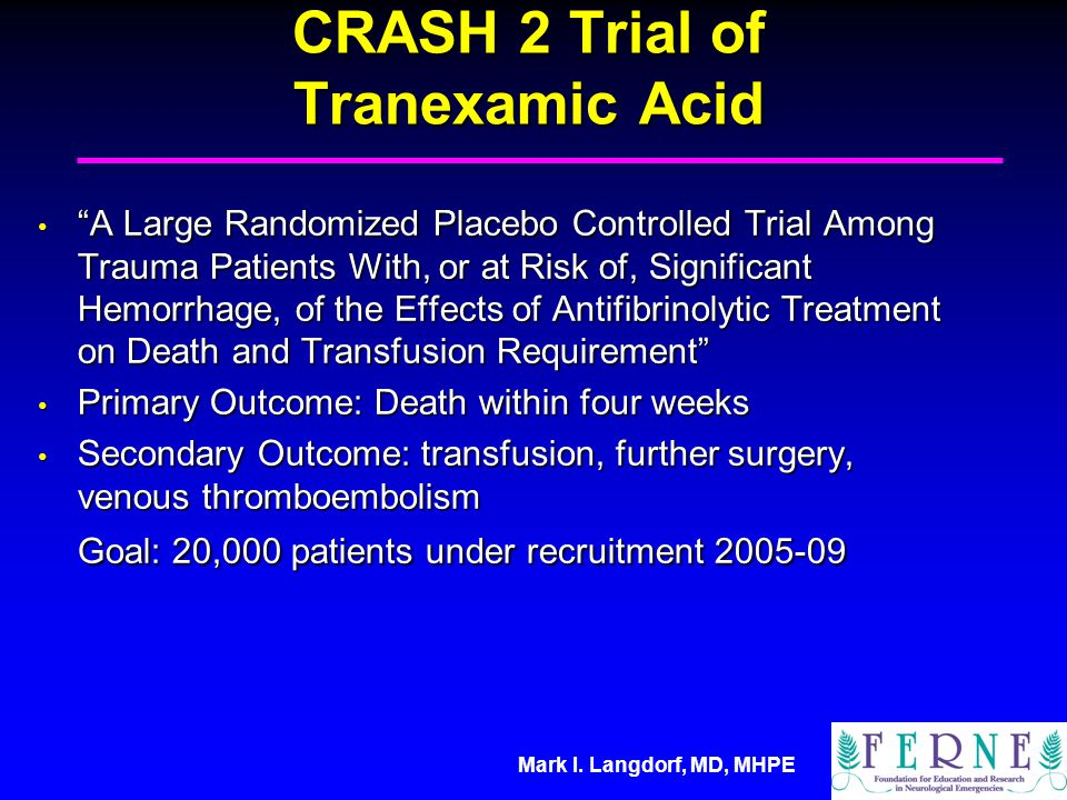 CRASH 2 Trial of Tranexamic Acid