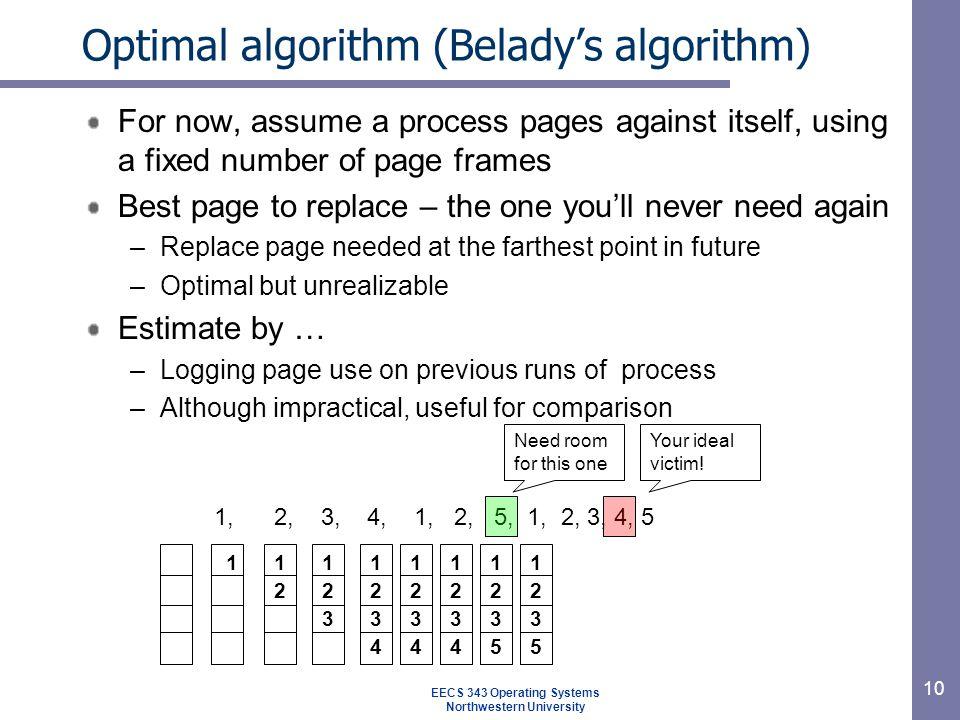 Optimal algorithm (Belady's algorithm)