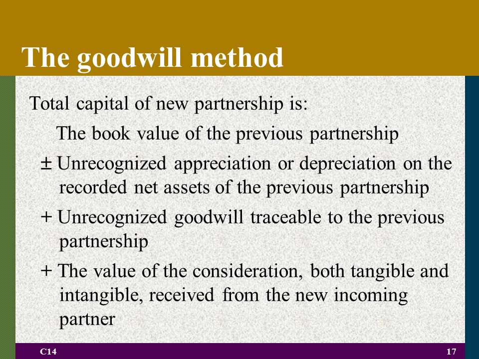 The goodwill method Total capital of new partnership is: