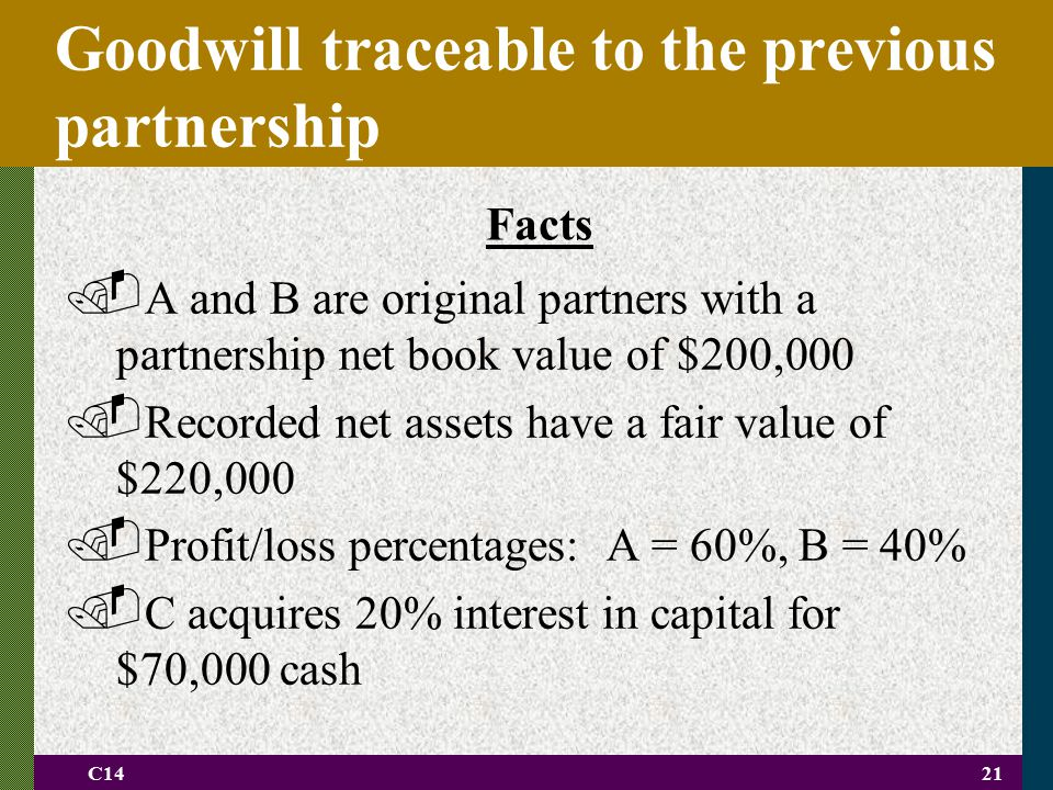 Goodwill traceable to the previous partnership