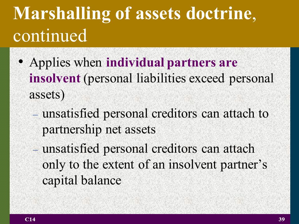 Marshalling of assets doctrine, continued