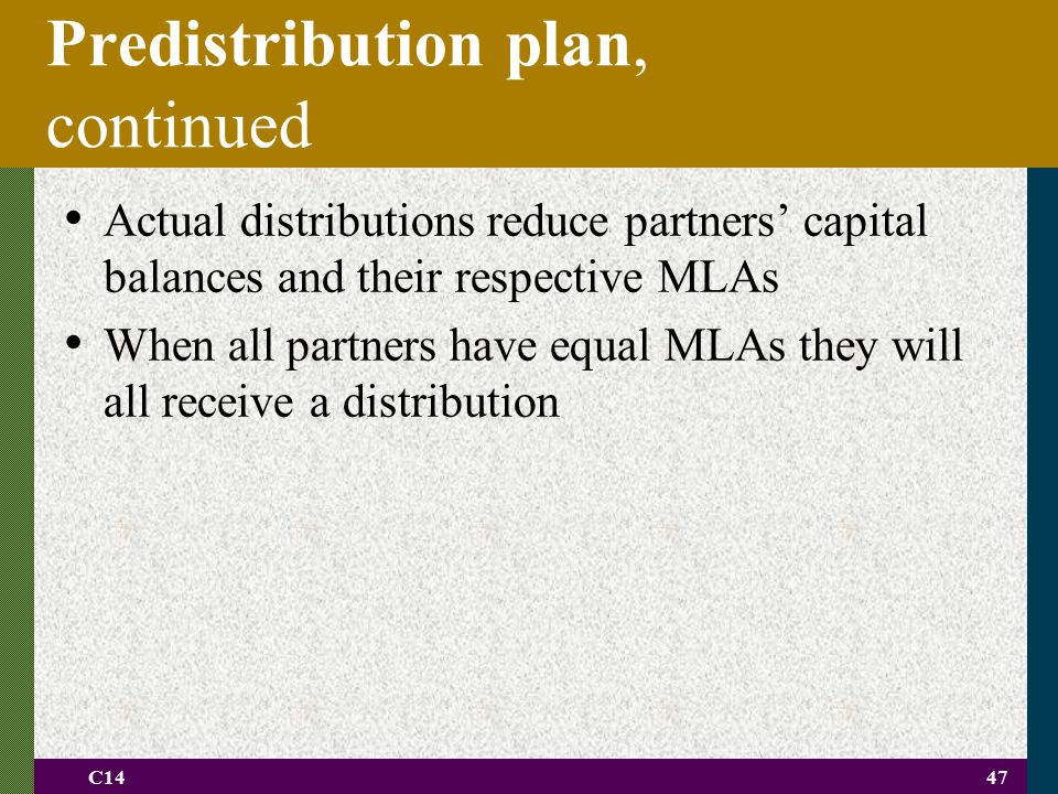 Predistribution plan, continued