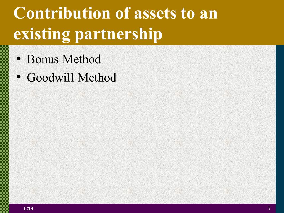 Contribution of assets to an existing partnership