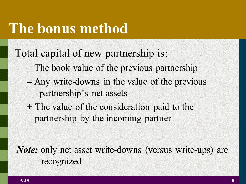 The bonus method Total capital of new partnership is: