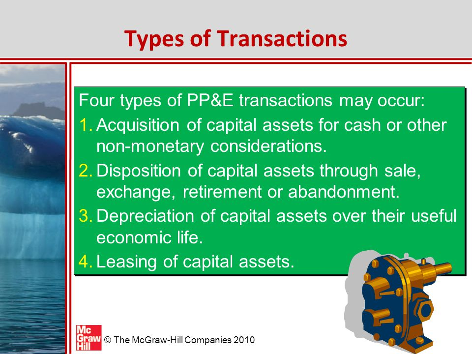 Types of Transactions Four types of PP&E transactions may occur: