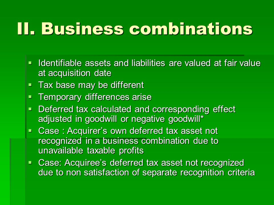 II. Business combinations